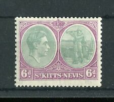 St Kitts & Nevis KGVI 1938 6d p13x12 SG74a MLH 'break in oval' R12/1