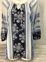 Davina Women's Size Extra Large White Multicolor Paisley Crochet Neck Line #S24