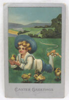 Vintage Easter Postcard Embossed Bucolic Scene Boy w Chicks Germany