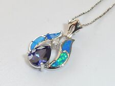 Ladies Sterling 925 Silver Opal White Sapphire & 1.5 Carat Tanzanite Pendant