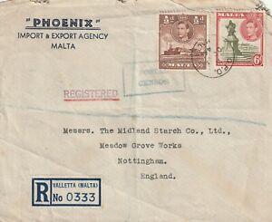 1944 Malta censored,registered cover sent from Valletta to Nottingham UK