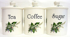 Lily of the VALLEY Tea Coffee Sugar canisters Bone China Pots Set main decor UK