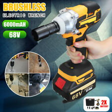 68V Cordless Electric Impact Wrench Brushless Power Tool + 2 Battery Charger