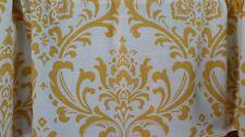 Damask Window Valance Yellow on White 100% Cotton Duck Custom Sewn