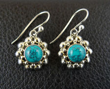 Dangle Earrings Handcrafted from India 001 Turquoise in Sterling Silver 925 Drop