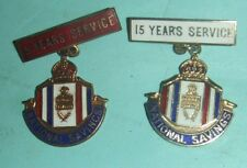 Vintage National Savings Badges - Five & Fifteen Years Service.