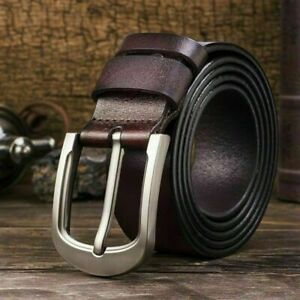 100% Mens Genuine Leather Real Belt Belts Silver Buckle Trouser Brown Black USA