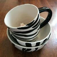 World Market Zebra theme Mug and Bowl, Plus Indra Stoneware Bowl matching set