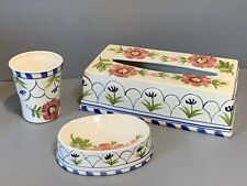 Vtg Fitz & Floyd Bathroom Vanity 3 Pc Set Cup Soap Dish Tissue Box Japan