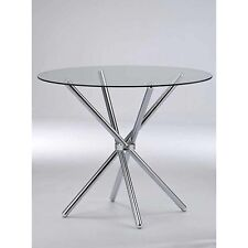VERONA ROUND DINING TABLE-Clear Tempered Glass/Chrome Legs-GDT11C(TABLE ONLY)