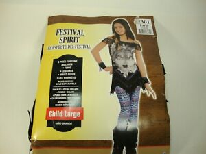 Girls Wolf Spirit Festival Costume Child Large US 12-14 6 piece Costume Hallowee