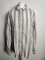 Fat Face Men Shirt Beige Stripe Cotton Long Sleeve Casual Button Collar Size XL
