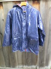 Vintage Purple Vinyl PVC WIPPETTE Rainthings Hooded Raincoat Flannel Lined XL