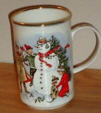 St. George BUILDING A SNOWMAN Christmas MUG fine bone china England gold trim