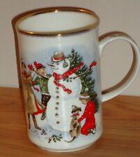 St. George BUILDING A SNOWMAN Christmas MUG fine bone china England gold trim