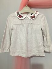 New With Tags Baby Girls Next Grey Embroidered Collar Long Sleeve Top 12-18❤️