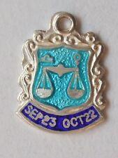 Libra zodiac charm  vintage silver enamel charm