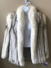 Natural Blue Fox With White Shadow Fox Trim Fur Jacket. Excellent Condition. L