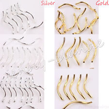 Gold Silver Plated Curved Noodle S Wavy Tube Loose Spacer Bead Jewelry Finding