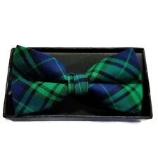 MENS BOW TIE GREEN AND BLUE FLANNEL TIE STRIPE TIE PRE-TIED BOW WITH CLIP