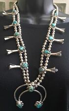 """SIGNED"" 26"" (4.75 OZ.) NAVAJO TURQUOISE & STERLING SQUASH BLOSSOM NECKLACE"