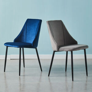 Pair of Velvet Dining Chairs Slope Back Padded Seat Metal Legs Home Lounge Chair