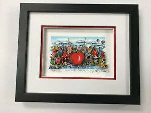"Charles Fazzino 3D Artwork "" Blue Skies Over New York "" Signed & Numbered Red"