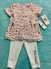 Juicy Couture baby girl Gold Pink Cheetah Glitter Print Tunic & Legging Set 12m