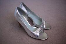 Sambag: Womens Silver Peep Toe Heels, Size 38 (7)