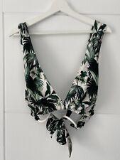ASOS Green White palm Print Crossback Halter Bikini Top Ring Detail Size 36G