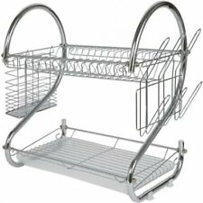 Modern Kitchen Chrome Plated 2-Tier Dish Drying Rack and Draining Board -...