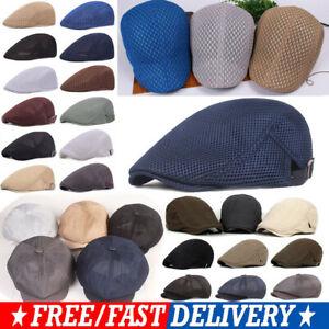 Men Breathable Mesh Flat Cabbie Caps Gatsby Ivy Golf Newsboy Driving Beret Hat #