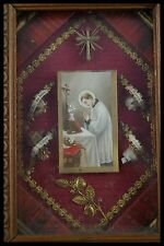 † FRANCIS of SALES + B.J. LABRE FRANCISCAN TOSF MULTI RELIQUARY 4 RELICs FRANCE†