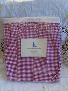 New Pottery Barn Kids Pink & White Gingham Percale CheckCotton Crib Bed Skirt