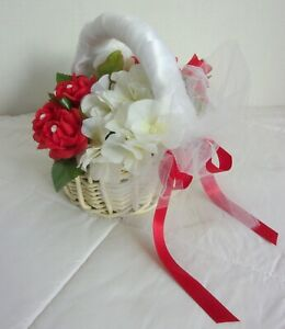 FLOWER GIRL FLORAL BASKET Silk Red Roses White Hydrangeas NEW FROM USA - ON SALE