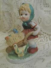 Vintage H-Painted Bisque Handgemalt German Girl w/WheelBarrow & Rooster Figurine