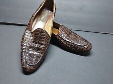 Sesto Meucci Womens Shoes Loafers US 9.5 Brown Leather Woven Slip On Italy Preow