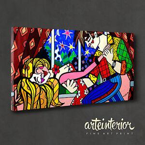 QUADRO MODERNO - ROMERO BRITTO - STARR NIGHT - Stampa FINE ART su tela 100x50cm