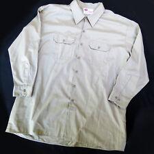 Mens Dickies Khaki 3X Mechanic Work Shirt Sz XXXL Buttondown Cotton Blend EUC