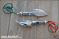 [ 4 pcs ] X2 Paire de Clignotants Bras de squelette Chrome  - moto trike custom