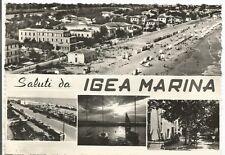 160722 RIMINI BELLARIA IGEA MARINA - SALUTI da... VEDUTINE Cartolina viagg. 1956
