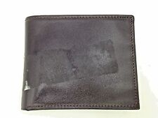 $88 Perry Ellis Men Brown Leather Double Billfold Card Case Photo Id 6cc Wallet