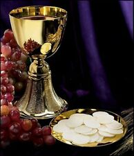 Gold Plate Brass Chalice with Paten, 12 Ounce