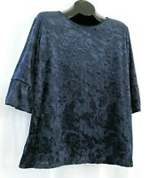 Ann Taylor Factory top XL blue floral velour lined scoop neck 3/4 sleeve blouse