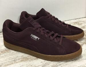 Puma Suede Classic Debossed Maroon Burgundy Sneakers Men Size 12