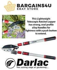 Darlac Long Reach Telescopic Ratchet Loppers Garden Tree Pruner Heavy Duty New