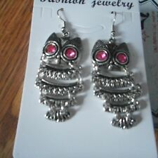 Owl Brass Earring Hooks Antique silver pink eyes