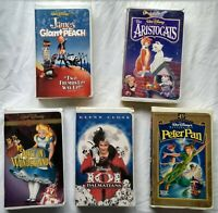 5 Disney VHS Tapes Alice Aristocats Peter Pan Dalmations James Giant Peach Lot
