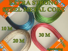 STRONG WASHING CLOTHES LINE STEEL METAL CORE THICK 1-2-3mm LONG 10-20-30-50m