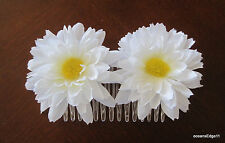 Double White Spider Daisy Silk Flower Hair Comb,Pin Up,Updo,Rockabilly,Bridal